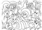Dibujo para colorear belén - nacimiento de Jesús