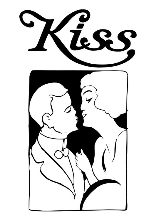 Dibujo para colorear beso - Img 27595