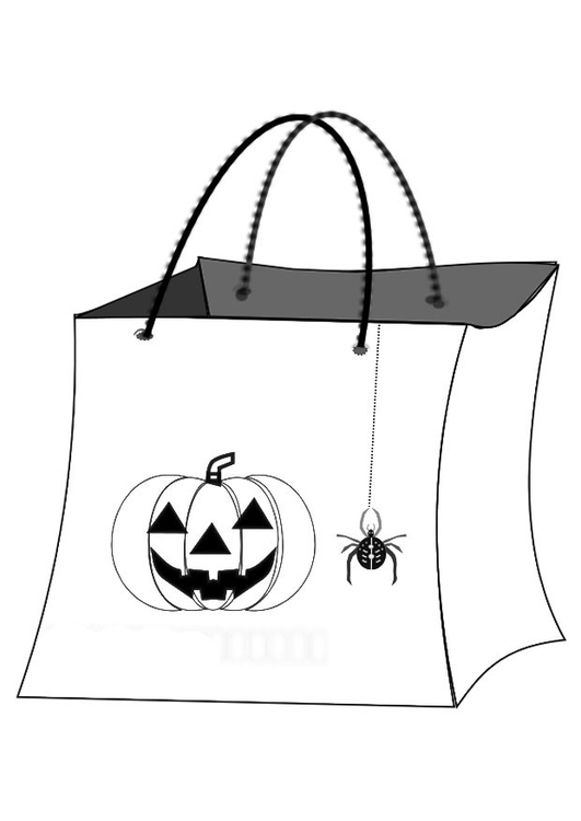 Dibujo para colorear bolsa de halloween   Img 19686