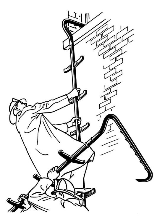Dibujo Para Colorear Bombero Con Escalera Dibujos Para