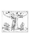 Dibujo para colorear Bombero rescata a gato en un árbol