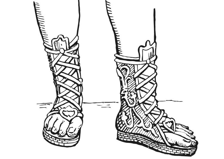 Dibujo para colorear Botas abiertas - Griegos y romanos - Img 13322