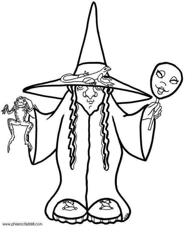 Dibujo para colorear Bruja de halloween  Img 6100