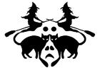 Dibujo para colorear brujas con gatos negros