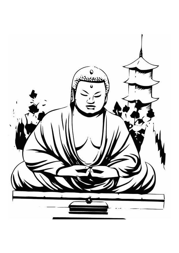 Dibujo para colorear Buda - Img 11014