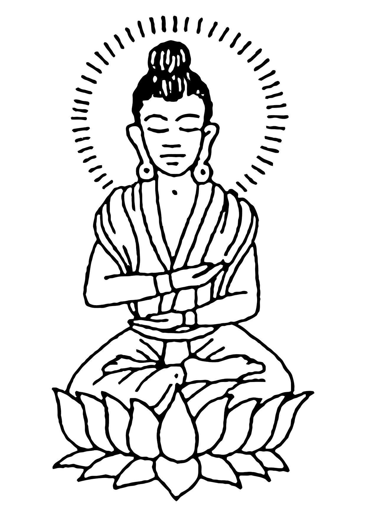 Dibujo para colorear Buda - Img 11444