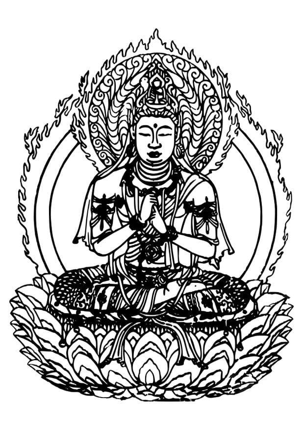 Dibujo para colorear buda img 27309 - Dessin de bouddha a imprimer ...
