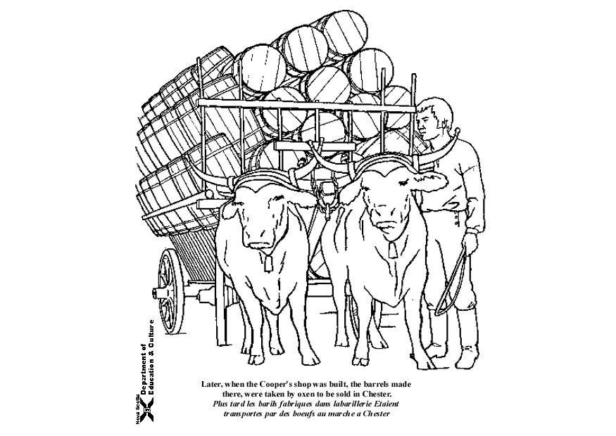 Dibujo para colorear Búfalos con carro - Img 9047 Images