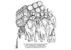 Dibujo para colorear Búfalos con carro