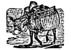 Dibujo para colorear burro cargado