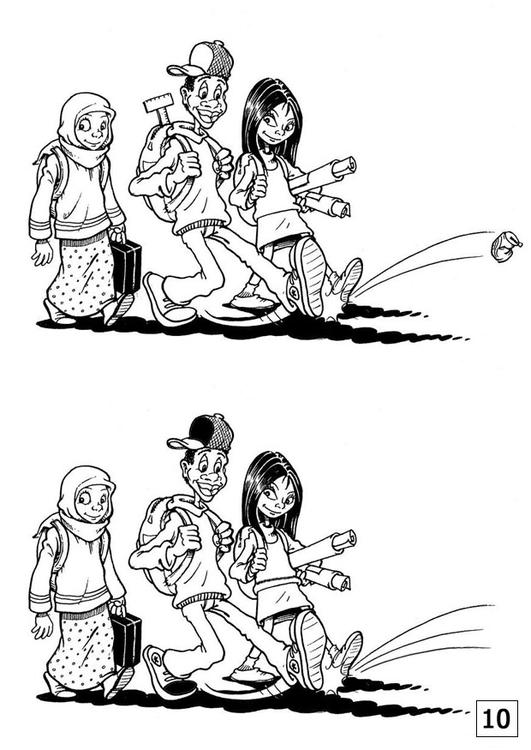 Dibujo Para Colorear Busca Las Diferencias Amistad