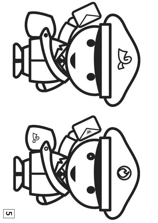 Dibujo para colorear busca las diferencias - cartero - Img 21554