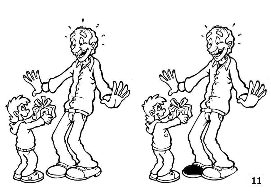 Dibujo Para Colorear Busca Las Diferencias Día Del Padre