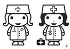 Dibujo para colorear busca las diferencias - enfermera