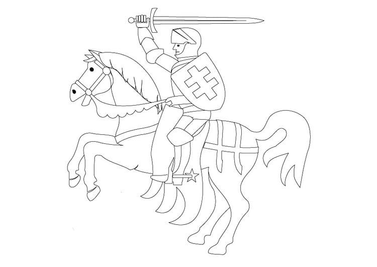 Dibujo para colorear Caballero a caballo - Img 9840
