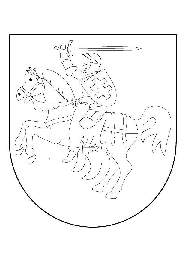 Dibujo para colorear Caballero a caballo en escudo - Img 9839