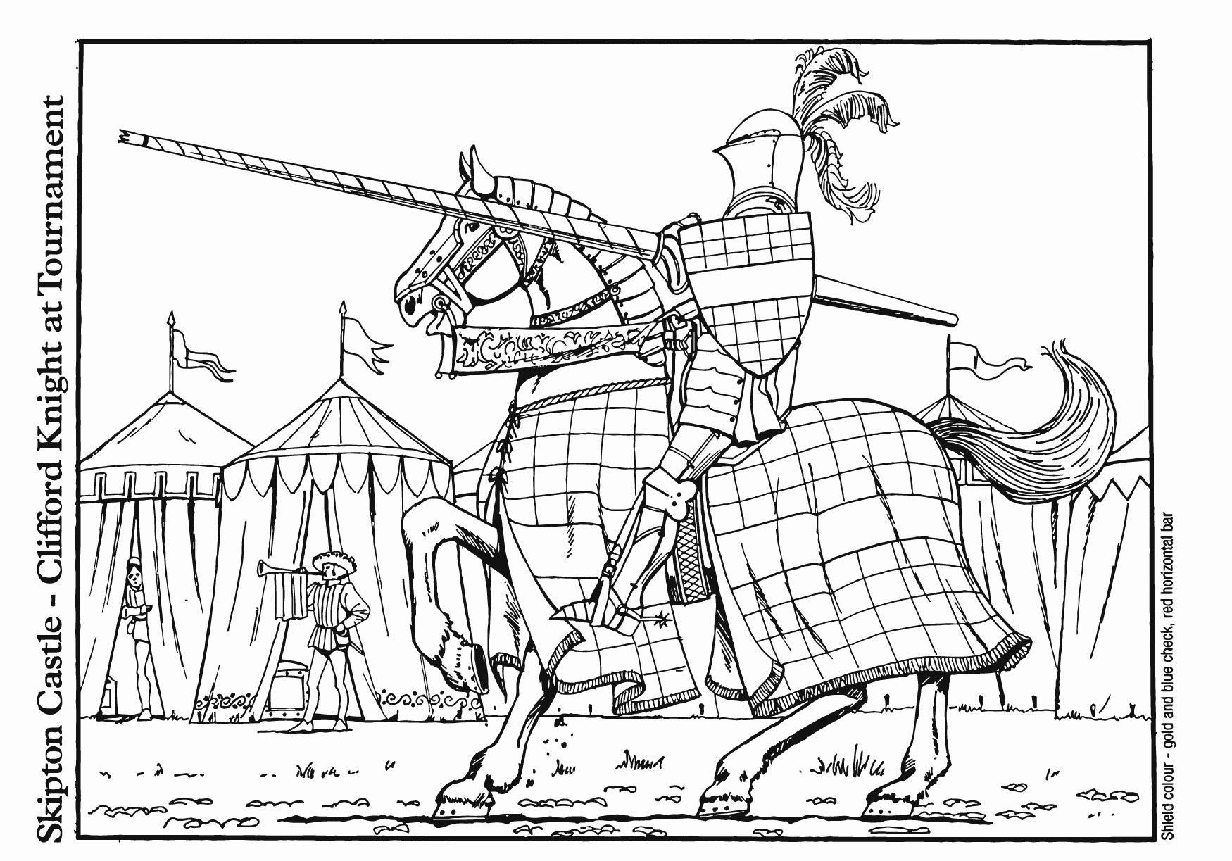 Dibujo para colorear Caballero Clifford en torneo - Img 14898
