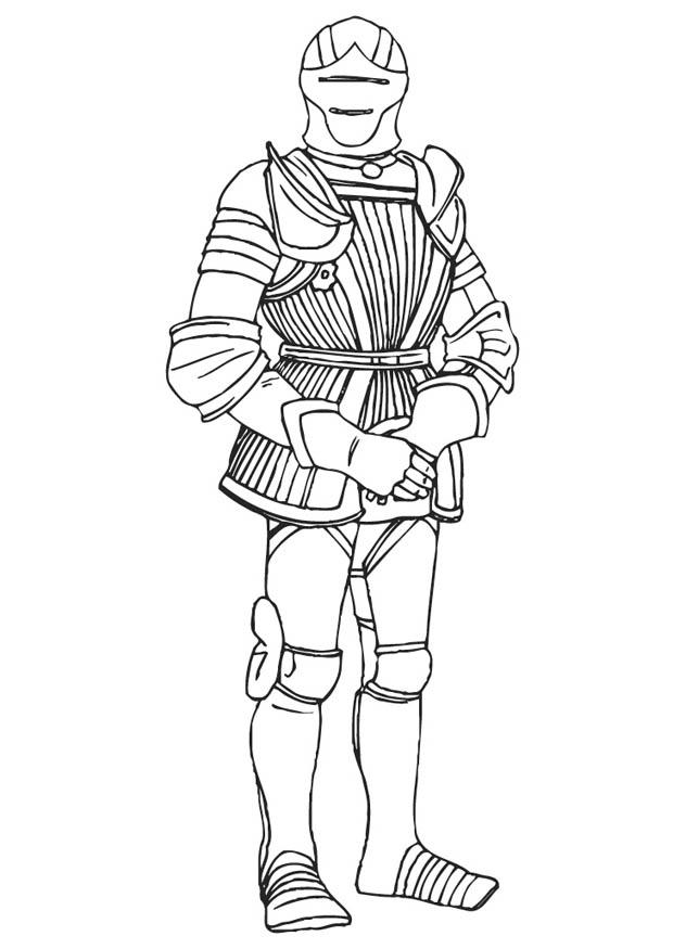 Dibujo para colorear Caballero con armadura - Img 9410