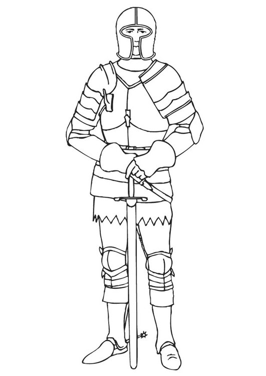 Dibujo para colorear Caballero con armadura - Img 10649