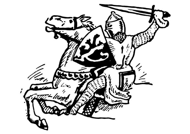 Dibujo para colorear Caballero se cae - Img 13272