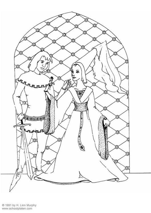 Dibujo para colorear Caballero y dama - Img 3834
