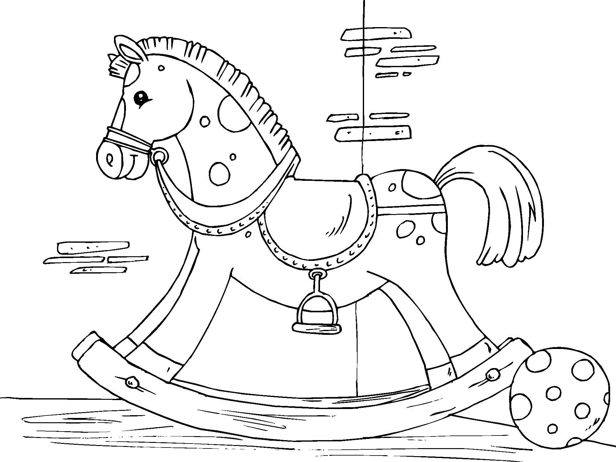 Dibujo para colorear caballo balancín - Img 22825