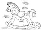 Dibujo para colorear caballo balancín