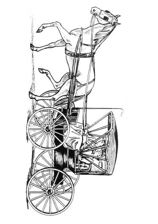 Dibujo Para Colorear Caballo Con Carro Img 18997