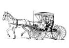 Dibujo para colorear caballo con carro