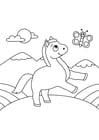 Dibujo para colorear caballo con mariposa