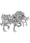 Dibujo para colorear caballo de caballero