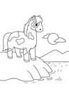 Dibujo para colorear caballo en el agua