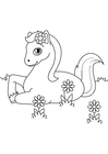 Dibujo para colorear caballo en el prado