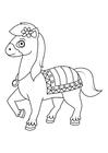 Dibujo para colorear caballo en movimiento