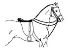Dibujo para colorear caballo ensillado