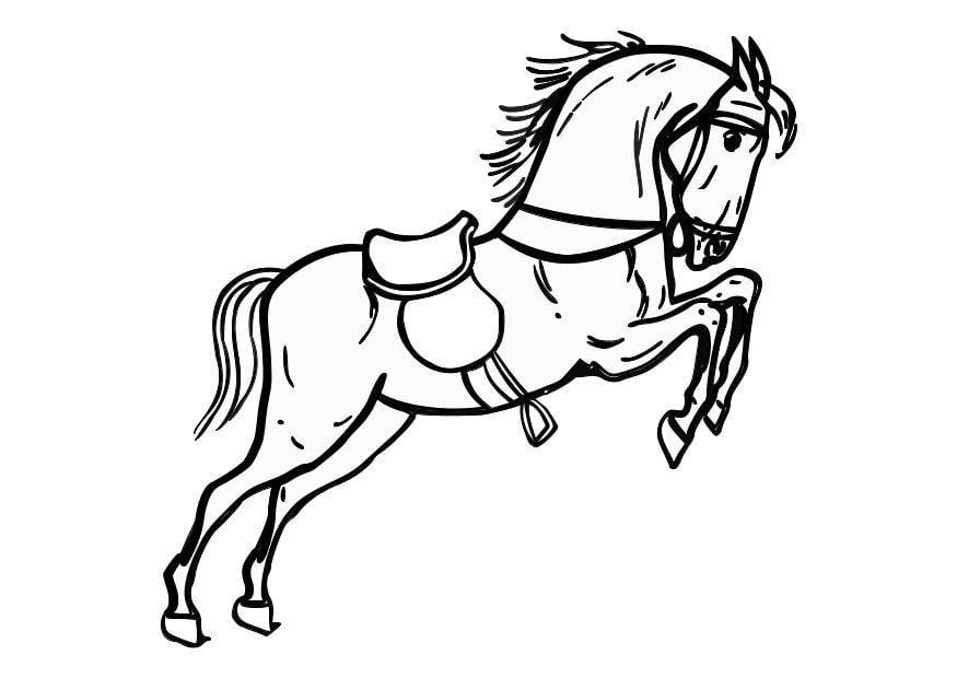 Dibujo para colorear Caballo saltando - Img 10361