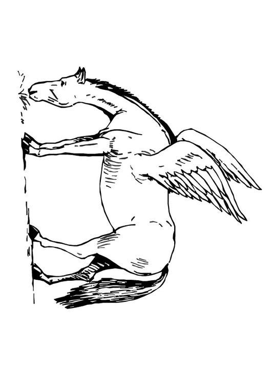 Dibujo para colorear Caballo volador  Img 9093