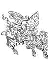 Dibujo para colorear caballo volador