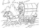 Dibujo para colorear caballo y carromato
