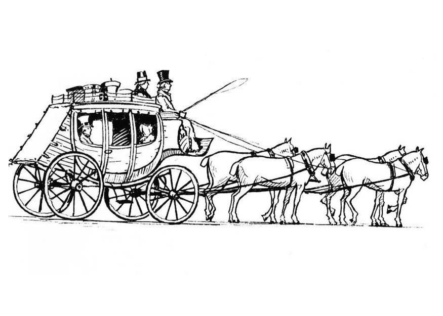 Imagenes De Carros Para Colorear: Dibujo Para Colorear Caballos Con Carro