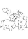 Dibujo para colorear caballos enamorados