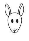 Dibujo para colorear cabeza de canguro