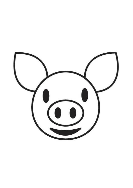 Dibujo para colorear cabeza de cerdo - Img 17758