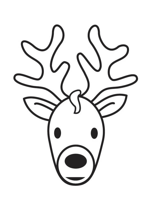 Dibujo para colorear cabeza de ciervo - Img 17560