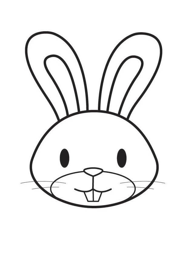 Dibujo para colorear cabeza de conejo  Img 17753