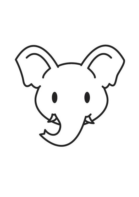 Dibujo para colorear cabeza de elefante - Img 17904