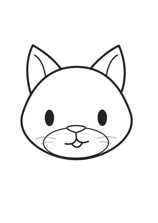 Dibujo para colorear cabeza de gato - Img 17566