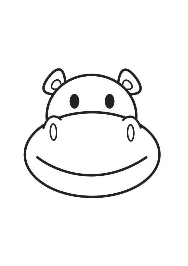 Dibujo para colorear cabeza de hipopótamo - Img 17914
