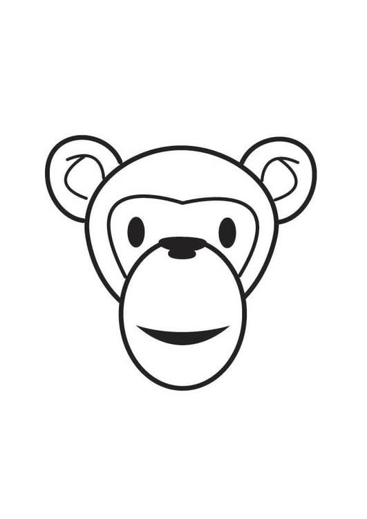 Dibujo para colorear cabeza de mono - Img 17553