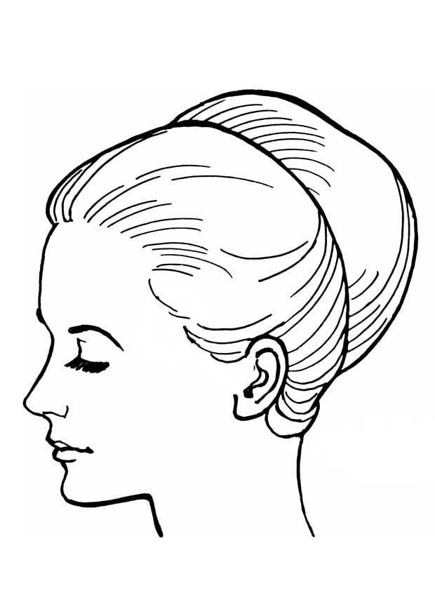 Dibujo para colorear cabeza de mujer - Img 18915